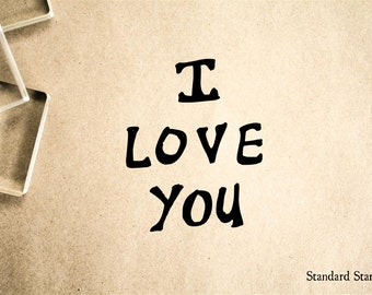 I Love You Rubber Stamp - 2 x 2 inches