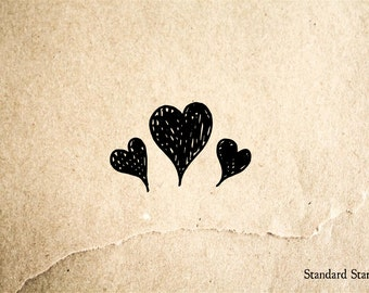 Three Hearts Rubber Stamp - 2 x 2 inches