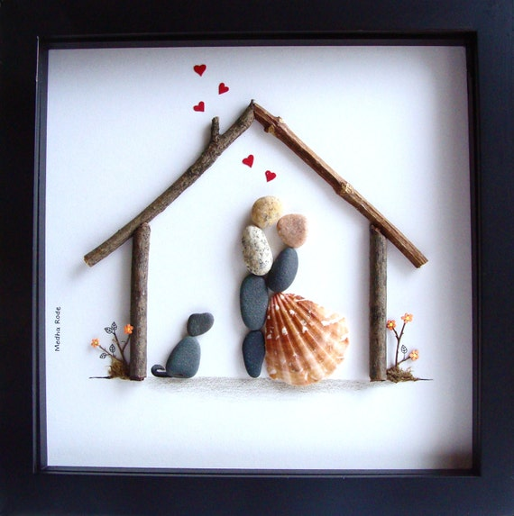 Wedding Gift-Pebble Art-Unique Engagement Gift-Wedding Art-Couple ...