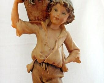 1982 Vintage Giuseppe Armani Capodimonte Boy Grapes Statue Figurine Italy