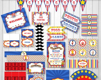 Circus Invitation - Circus Party pack - Download and Type Over the Sample Text Starting Now using Adobe Reader!!!! Carnival Party Supplies