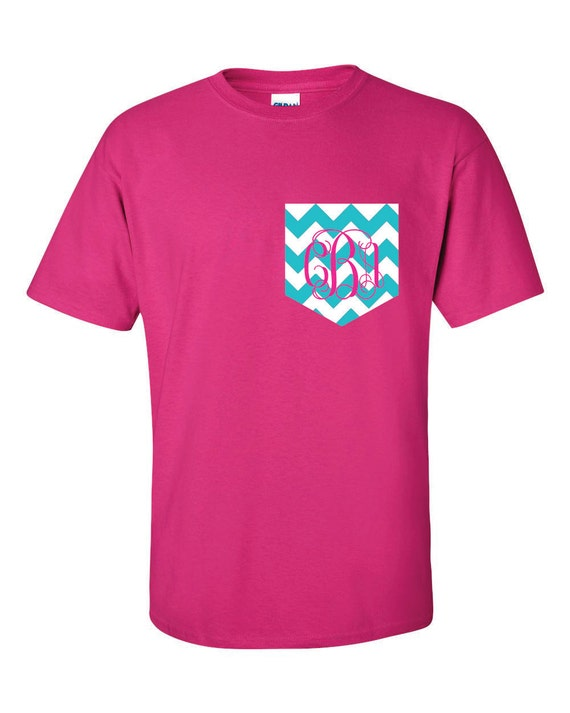 Custom monogrammed t shirt monogrammed pocket tee t by for Custom t shirts with pockets