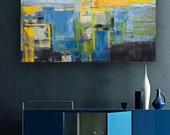 Abstract painting orange and red modern minimalist large canvas art 39.37/27.5 100/70cm. Free shipping. Orange I.