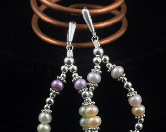 Pearl Earrings - Multi-Color Pastel Freshwater Pearl and Sterling Silver