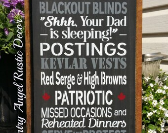 RCMP- In this house-we are a proud Rcmp family, Rustic and Distressed Typography wood sign, Framed Sign, Handpainted, Rcmp sign, Family Sign