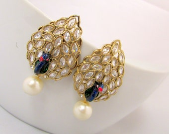 Pearl and Kundan Ethnic Statement Dangle Earrings