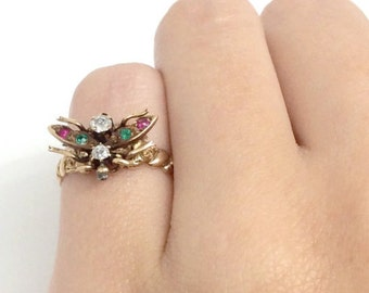 Unique Multi-stone Butterfly Antique Gold Ring