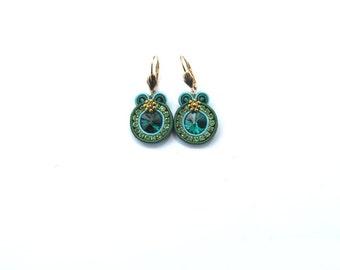 Emerald Green Earrings , Handmade Soutache Earrings , Round Dangle Green and Gold Earrings