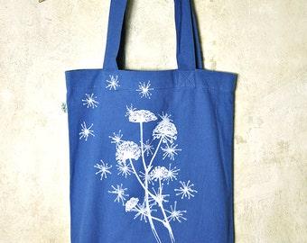 Silkscreen Tote Bag - Wild Flower on Denim Blue / Dark Violet / Black Bio & Fairtrade Cotton Bag