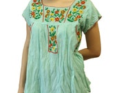 Women's Embroidered Bohemian Peasant Summer Blouse Mint Green