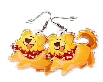 Cute golden retriever, Golden retriever Earrings, Dog lovers, Golden Owners, golden, goldendoodle, dog charm, kawaii charms