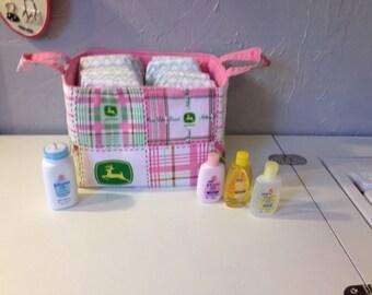 Storage and Orginization - Fabric Basket/Bin - John Deere and Pink