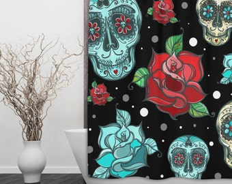 Turquoise Sugar Skull Shower Curtain - Dia de Meurtos Shower Curtain - Day of the Dead, Sugar Skull Shower Curtain