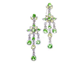 GLITTERY Apple Green Earrings, Small Crystal Chandelier, Lime Green Yellow Swarovski Crystal Earring, Silver Dangle CLIP on Earrings,Sparkly