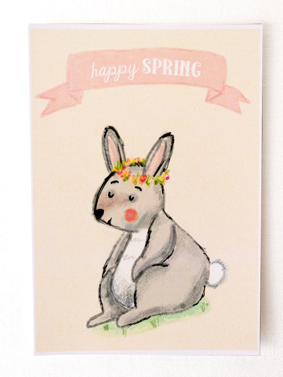 Happy spring card with a cute bunny with a flower crown