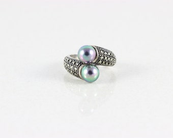 Sterling Silver Pearl Ring and Marcasite Ring size 8