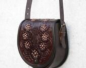 brown tooled leather bag with poppies - shoulder bag - crossbody bag - handbag - ethnic bag - messenger bag - for women - capacious