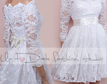 Off-Shoulder /Custom Made / wedding lace dress / with Sleeves/ Bridal Gown