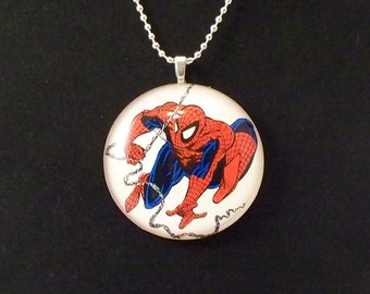 Swinging Spiderman Glass Pendant Necklace