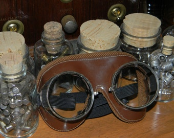 Exquisite Quality Vintage Glass, Corduroy, and Patent Leather Aviator or Motoring Goggles - Manufactured By NFA - Thick Saniglas Lenses