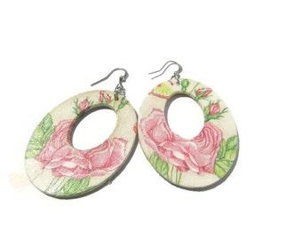 Rose Wooden Hoop Earrings Nature Wood Earrings Flower Wood Earrings Pink Rose Wooden Earrings Nature Wooden Jewelry Large Wood Earrings