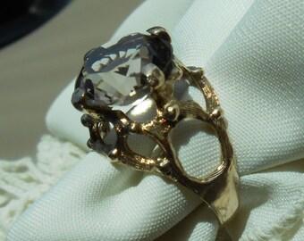 Vintage smoky quartz ring