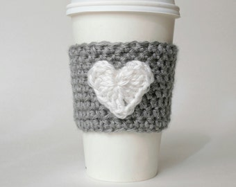 Heart Crochet Coffee Cozy, Valentine's Cozy, Eco-Friendly