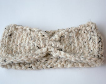 Turban Headband, Knit Headband, Oatmeal Brown, Chunky Knit Headband, Earwarmer, Fashion Accessory, Gift For Her