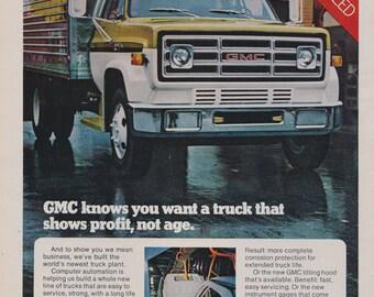1973 GMC Truck Ad Semi-Trailer Photo Vintage Advertising Man Cave Wall Art