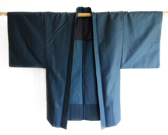 Mens Blue Japanese Vintage Kimono Jacket Haori Robe