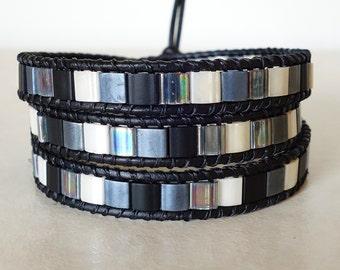 Boho chic black tila bead 3 wrap bracelet/ Bohemian black, blue and white leather ladder triple wrapped mosaic yoga bracelet