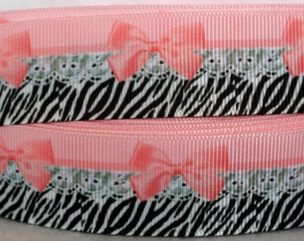 "1"" Grosgrain Ribbon by the Yard, Zebra Ribbon, Pink and Black Lace Ribbon for Crafts, Decor, Hairbows, or Gifts"
