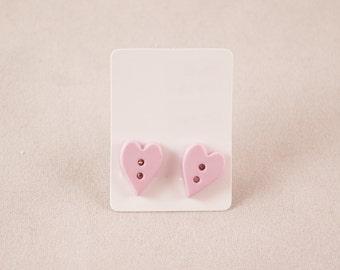 Heart Earrings - Love Earrings - Button Earrings - Button Jewelry - Sewing Gifts - Heart - Stud Earrings - Heart Jewelry - Valentines - Love