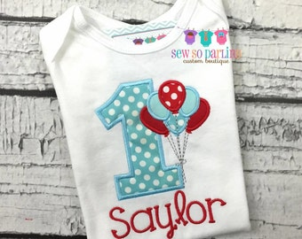Baby Girl Birthday Outfit - 1st Birthday Balloon Birthday Outfit - 1st Birthday Red Blue Outfit - Girl first Birthday Shirt