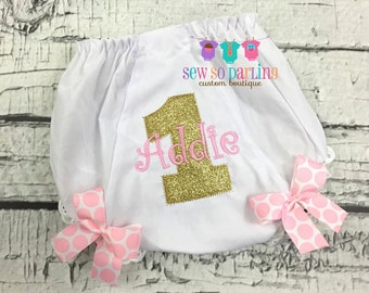 1st Birthday Diaper Cover - Birthday Baby Bloomers - Pink Gold Baby Girl Bloomers