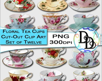 Floral Tea Cup Clipart Printable Cut Out Flower Coffee Mug Commercial Use Digital Graphic Clip Art Instant Download CA0010