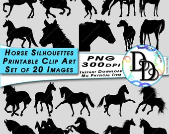 Black Horse Silhouettes Clipart Printable Digital Scrapbook Farm Animals Commercial Use Clip Art Instant Download SS0001