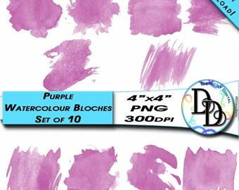 Purple Watercolour Printable Clip Art Paint Stroke Blotches Instant Download Commercial Use CA0014