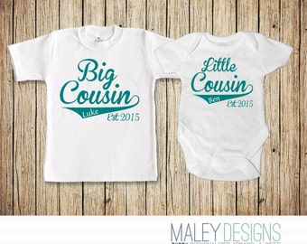 Matching Cousin Shirts, Big Cousin Little Cousin Outfits, Personalized Set of Two, Coordinating Cousin Outfits, Cousin Gift