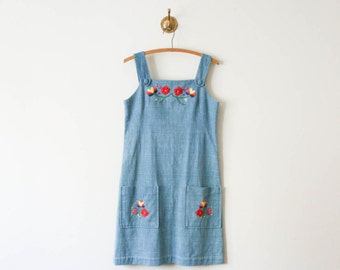 vintage 70s floral embroidered chambray dress