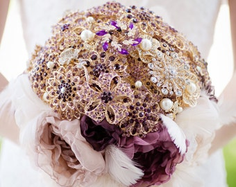 Custom Eggplant Brooch Bouquet, Purple Fabric Bouquet, Fabric Flower Bouquet, Bridal Bouquet, Jeweled Bouquet, Champagne Gold - 11 inch
