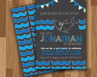 Shark Party Invitation (digital file)