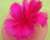Pink Fascinator, Pink Goose Feathers Flowers, Bright Pink Hair Accessory