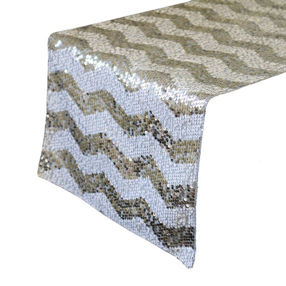 14 x 108 inch chevron sequin table runners white and silver for 108 table runner