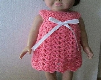 Hand crocheted Summer dress for 18 inchdolls.