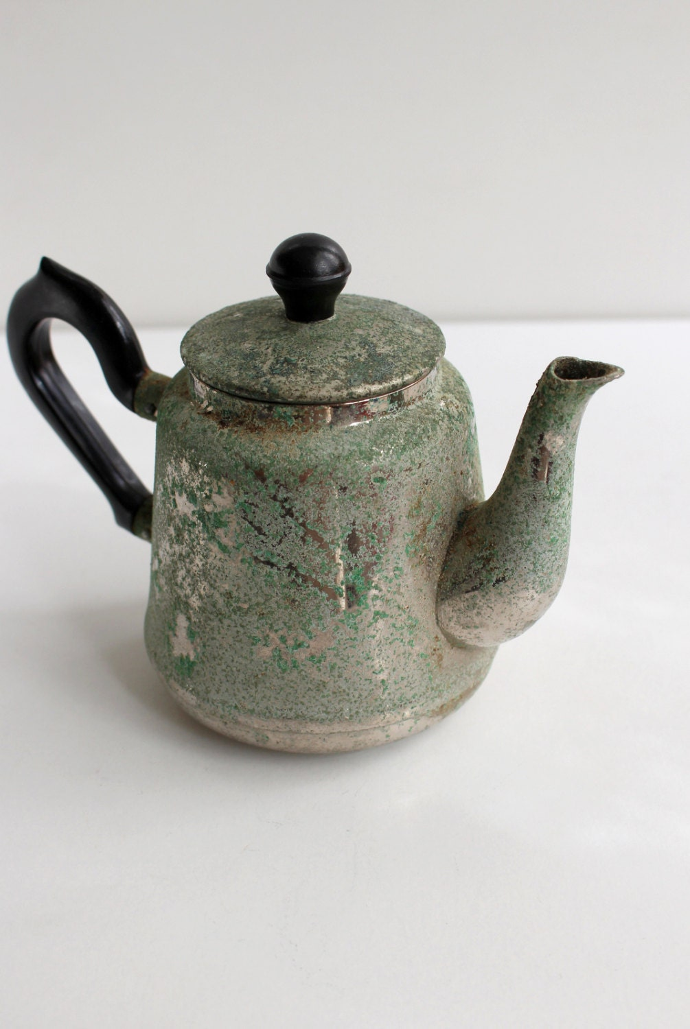Soviet vintage metal teapot with lid stainless by