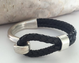 Black Braided Leather Bracelet, Antique Silver Hook Clasp, Leather Bangle, Unisex Leather Bracelet, Half Hook Leather Bracelet
