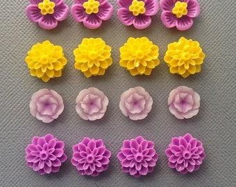16 pcs resin cabochon flowers ,assorted sizes,#FL061