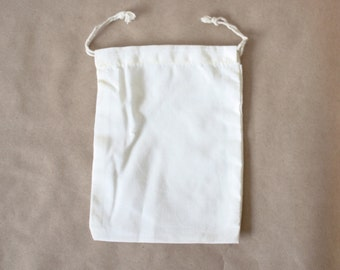 10 x 12 -- Set of 10 Plain Cotton Muslin Double Drawstring Bag for DIY Crafts, projects