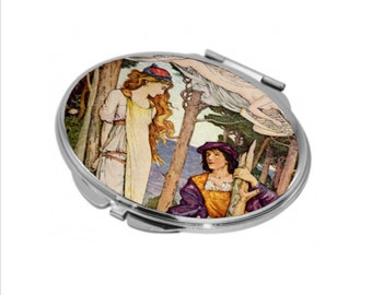 Oval Compact Mirror - Vintage Shakespeare - The Tempest - Can be Personalised